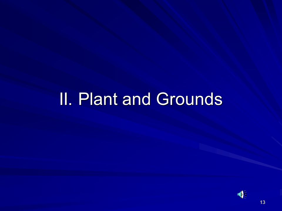 13 II. Plant and Grounds