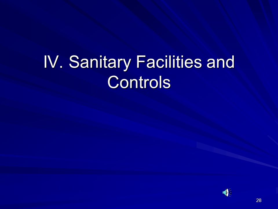 28 IV. Sanitary Facilities and Controls