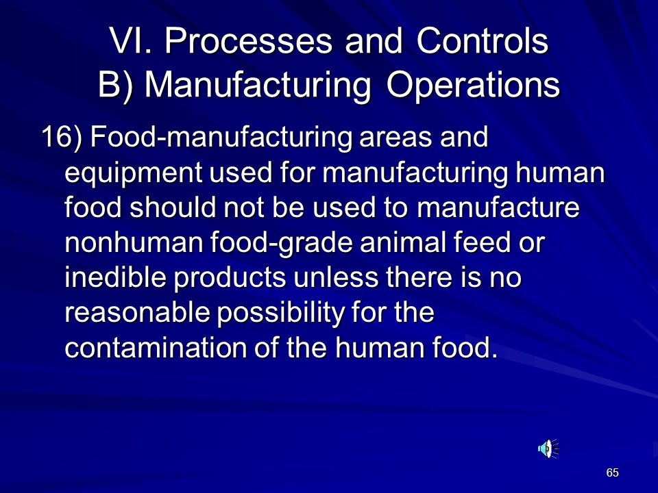 65 VI. Processes and Controls B) Manufacturing Operations 16) Food-manufacturing areas and equipment used for manufacturing human food should not be u