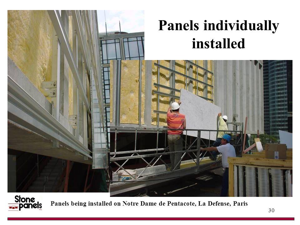 Panels individually installed Panels being installed on Notre Dame de Pentacote, La Defense, Paris 30