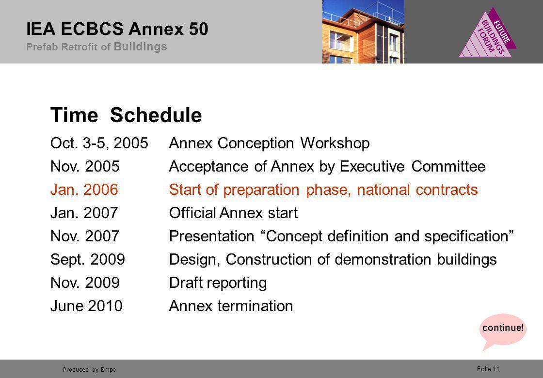 Produced by Empa IEA ECBCS Annex 50 Prefab Retrofit of Buildings Folie 14 Time Schedule Oct.