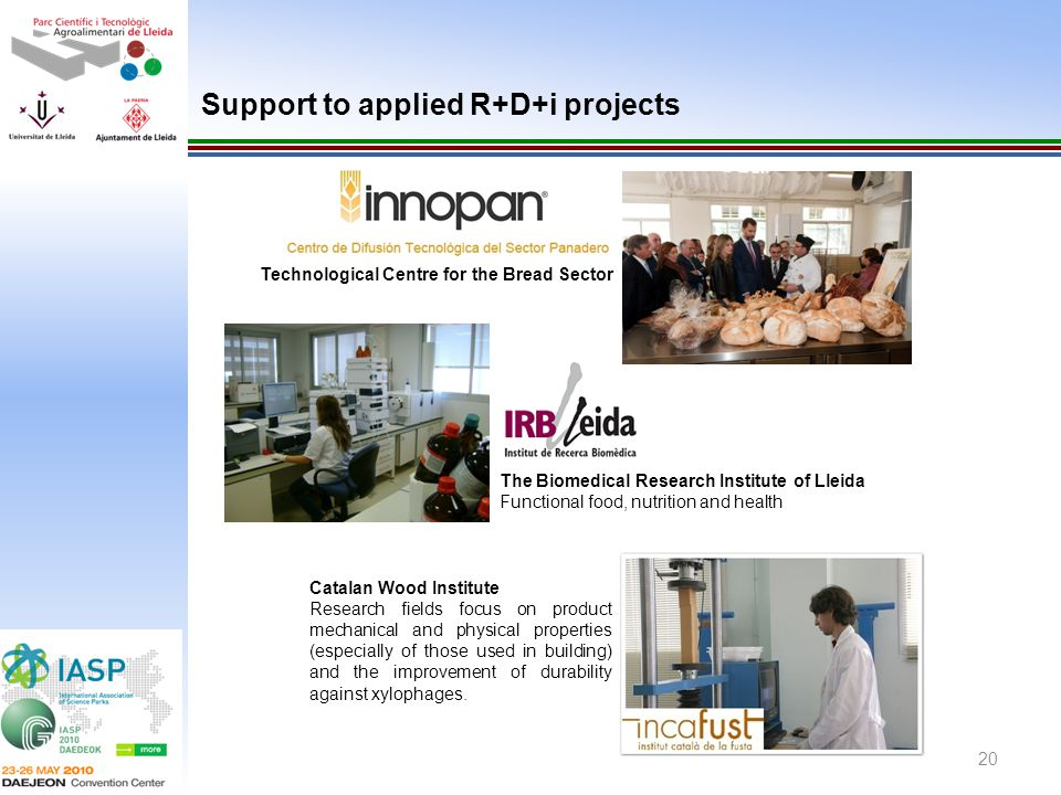 20 Technological Centre for the Bread Sector Support to applied R+D+i projects Catalan Wood Institute Research fields focus on product mechanical and