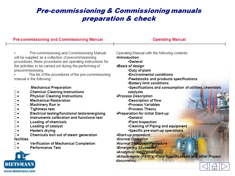 Pre-commissioning and Commissioning Manual will be supplied as a collection of precommissioning procedures; these procedures are operating instructions for the activities to be carried out during the performing of precommissioning.