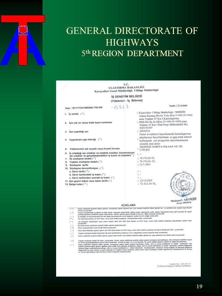 GENERAL DIRECTORATE OF HIGHWAYS 5 th REGION DEPARTMENT 19