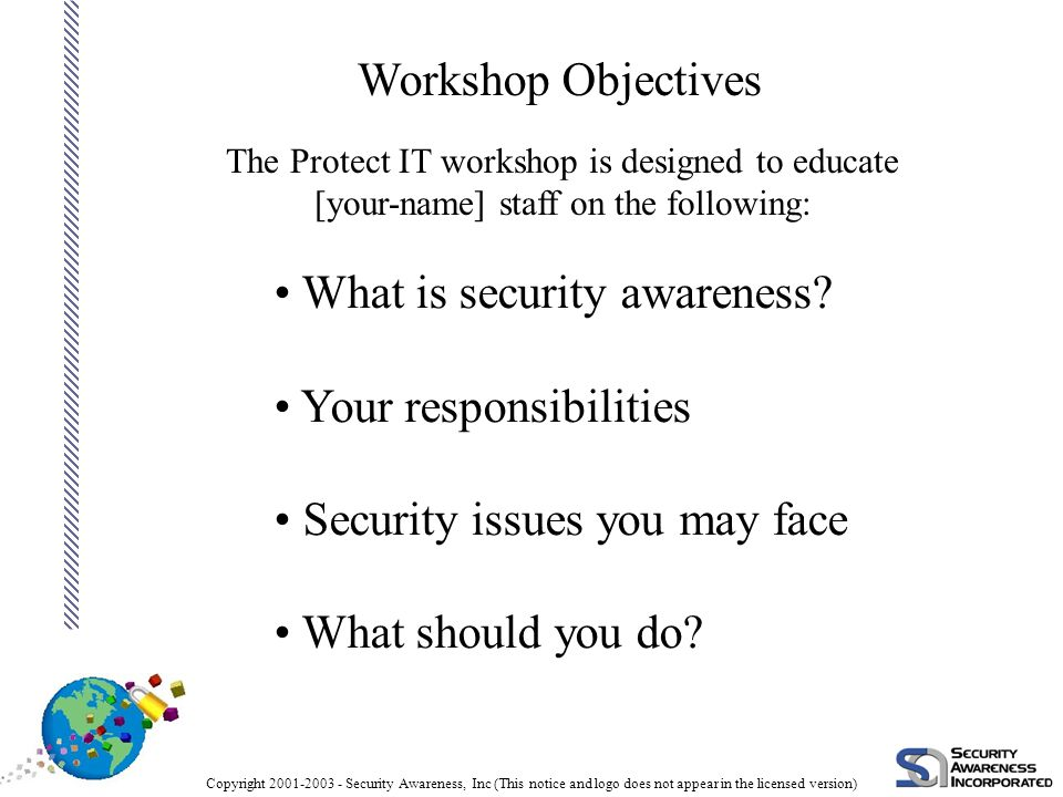 Copyright 2001-2003 - Security Awareness, Inc (This notice and logo does not appear in the licensed version) So How Do We Start.