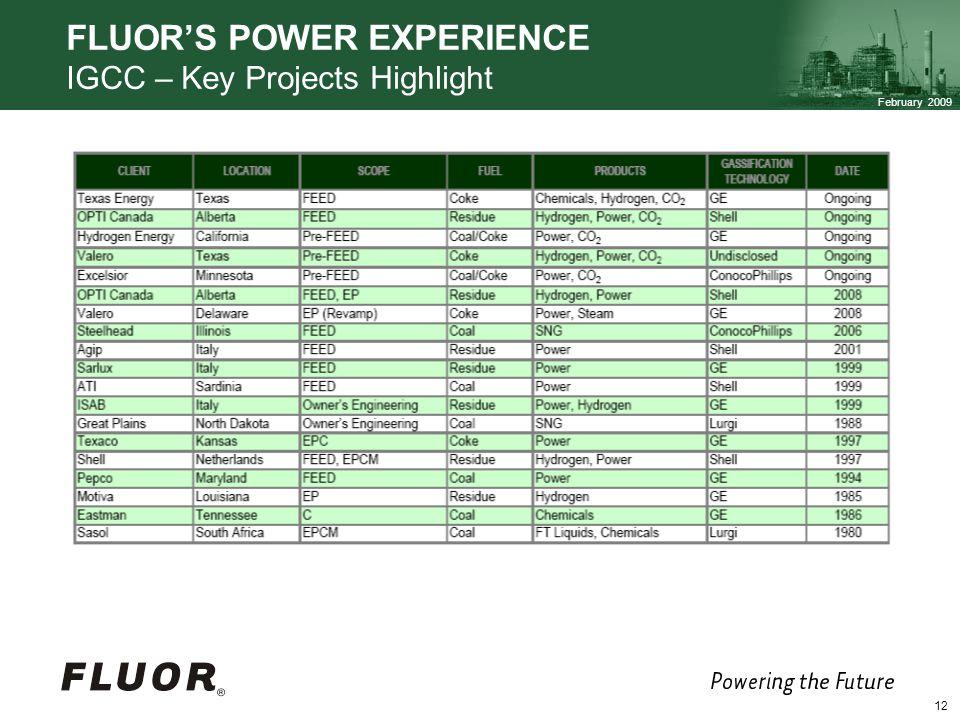 February 2009 12 FLUORS POWER EXPERIENCE IGCC – Key Projects Highlight