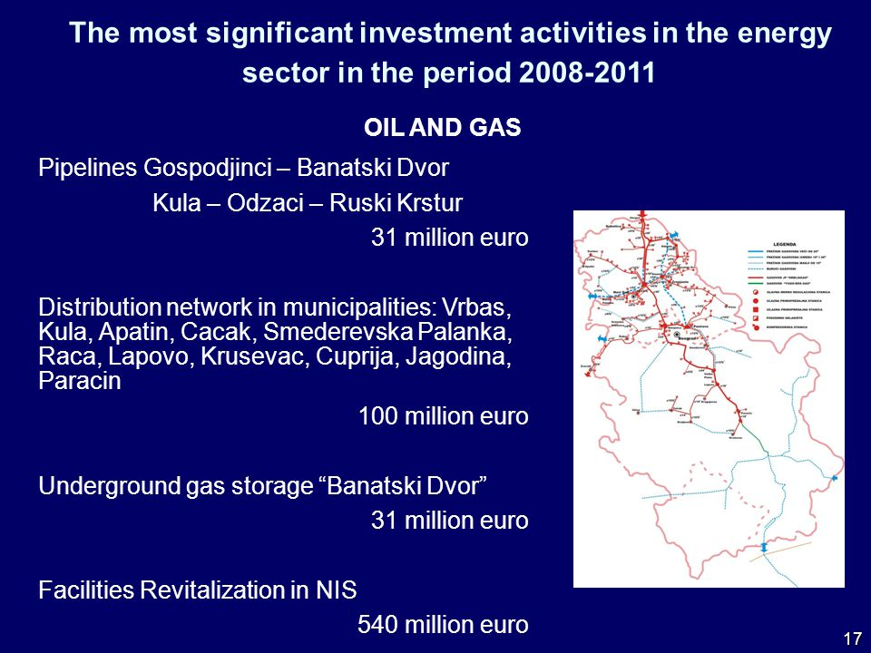 The most significant investment activities in the energy sector in the period 2008-2011 OIL AND GAS Pipelines Gospodjinci – Banatski Dvor Kula – Odzaci – Ruski Krstur 31 million euro Distribution network in municipalities: Vrbas, Kula, Apatin, Cacak, Smederevska Palanka, Raca, Lapovo, Krusevac, Cuprija, Jagodina, Paracin 100 million euro Underground gas storage Banatski Dvor 31 million euro Facilities Revitalization in NIS 540 million euro 17