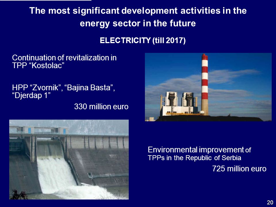 The most significant development activities in the energy sector in the future ELECTRICITY (till 2017) Continuation of revitalization in TPP Kostolac HPP Zvornik, Bajina Basta, Djerdap 1 330 million euro Environmental improvement of TPPs in the Republic of Serbia 725 million euro 20