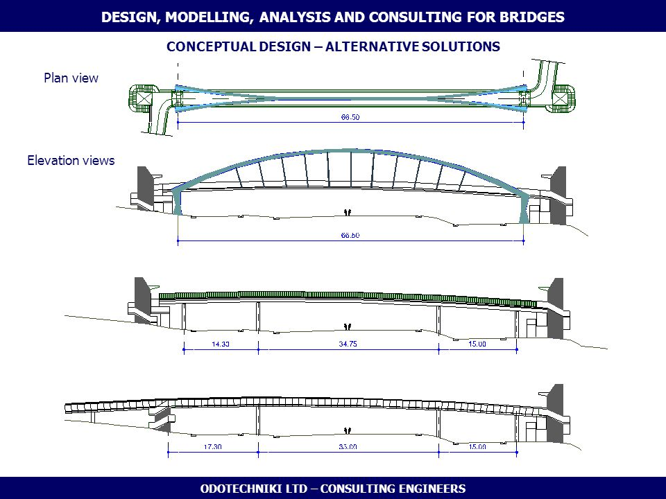 ODOTECHNIKI LTD – CONSULTING ENGINEERS CONCEPTUAL DESIGN – ALTERNATIVE SOLUTIONS DESIGN, MODELLING, ANALYSIS AND CONSULTING FOR BRIDGES Elevation view