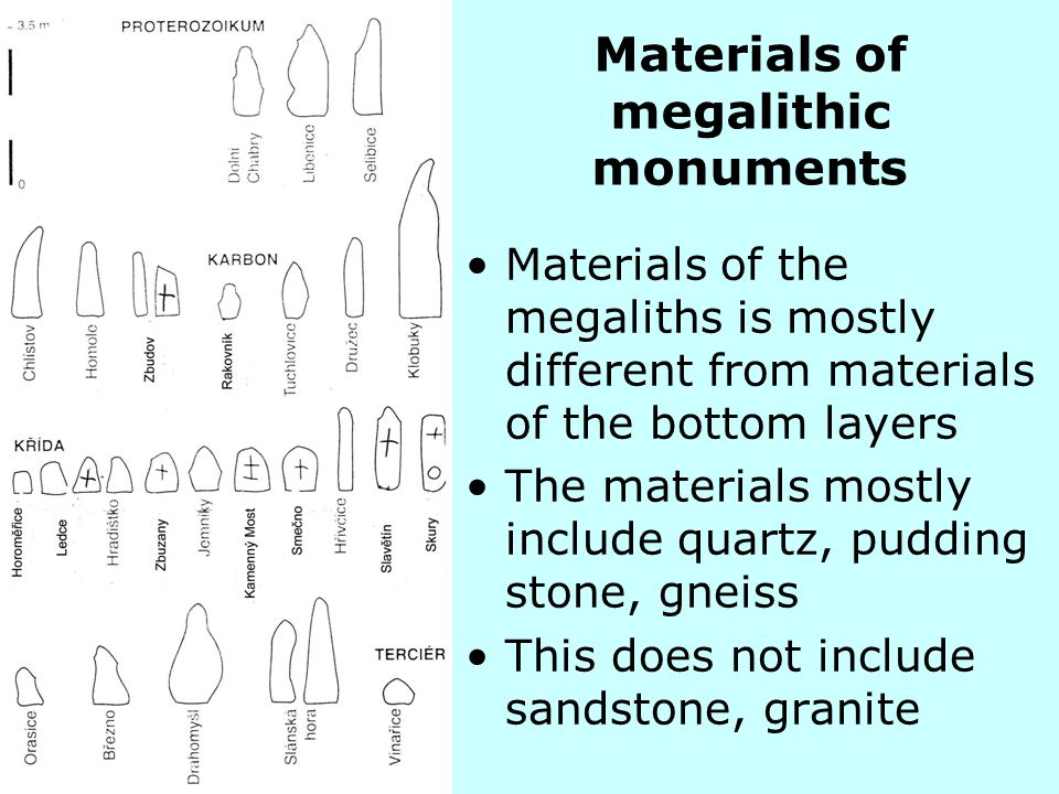 Materials of the megaliths is mostly different from materials of the bottom layers The materials mostly include quartz, pudding stone, gneiss This doe