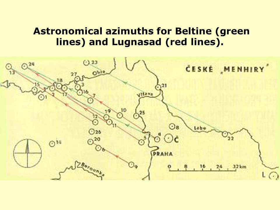 Astronomical azimuths for Beltine (green lines) and Lugnasad (red lines).