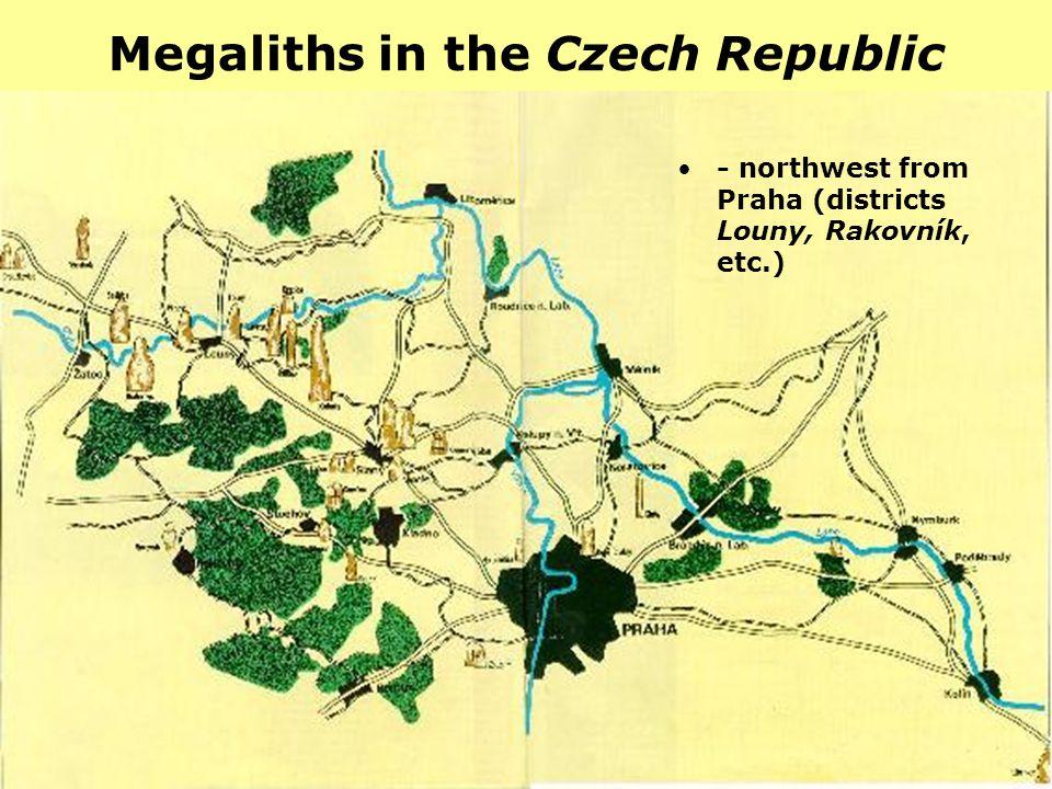 Megaliths in the Czech Republic - northwest from Praha (districts Louny, Rakovník, etc.)