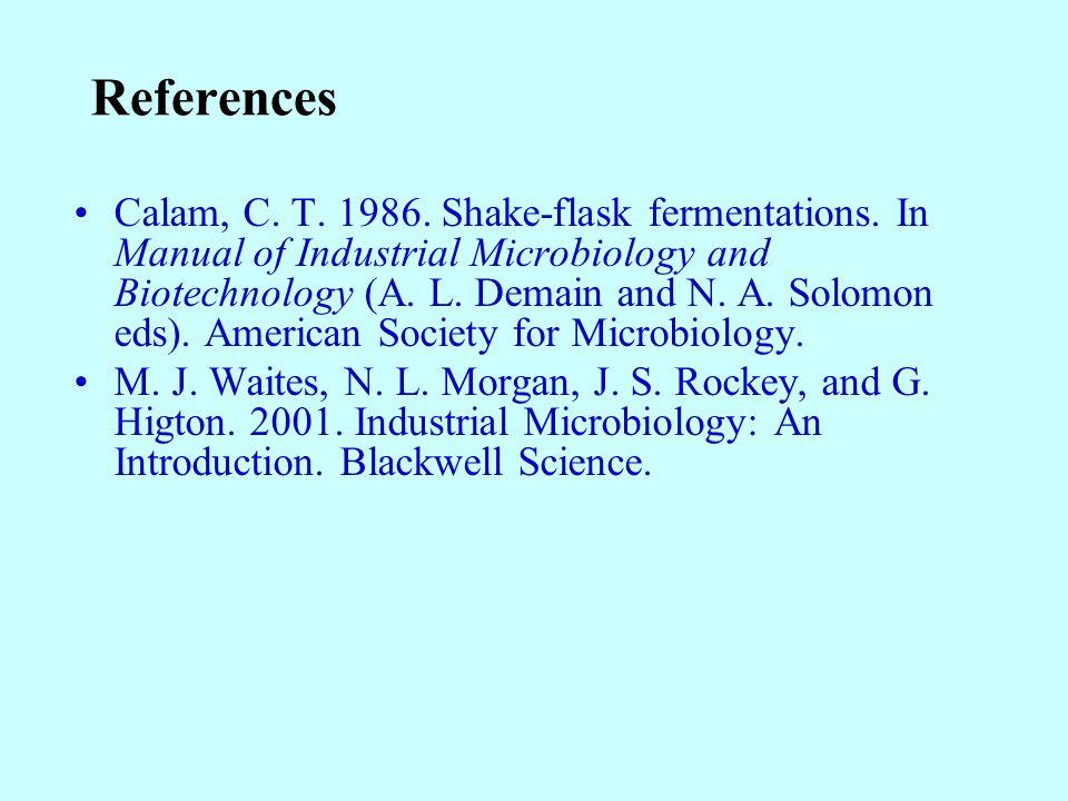 References Calam, C. T. 1986. Shake-flask fermentations.