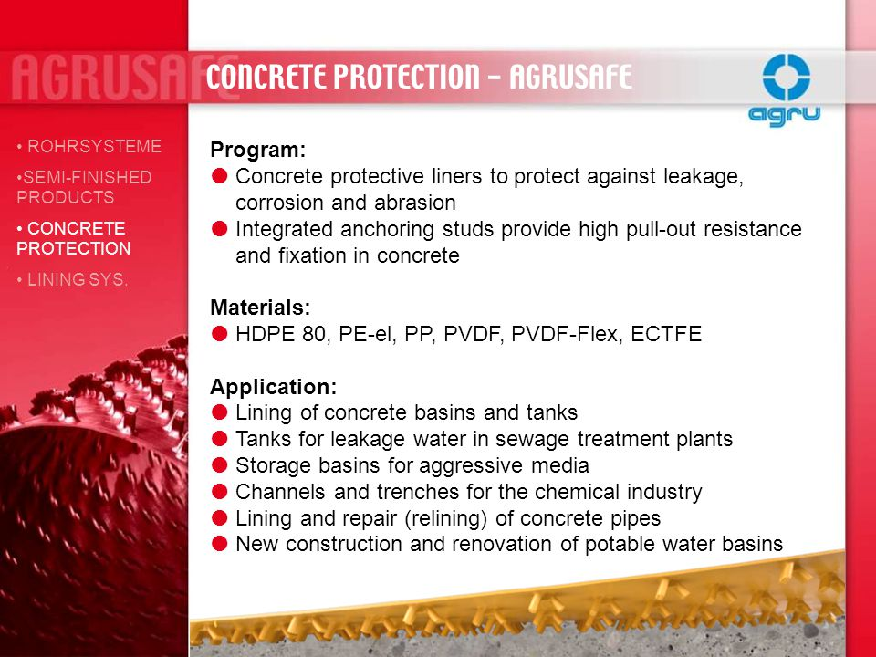 CONCRETE PROTECTION - AGRUSAFE ROHRSYSTEME SEMI-FINISHED PRODUCTS CONCRETE PROTECTION LINING SYS. Program: Concrete protective liners to protect again