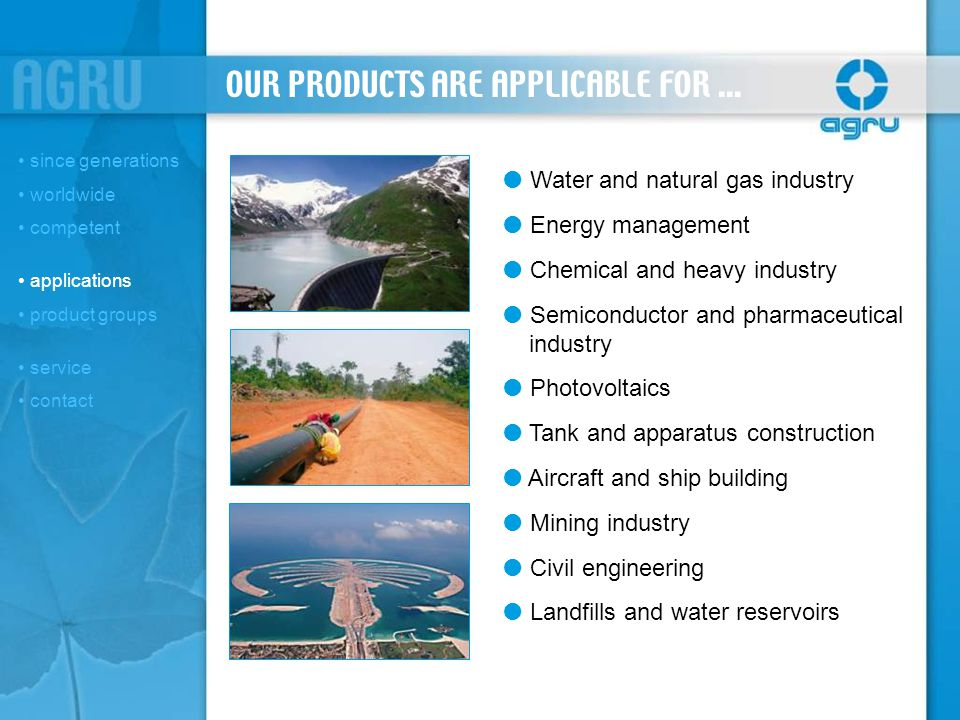 PRODUCT GROUPS (1/3) since generations worldwide competent applications product groups PIPING SYS.
