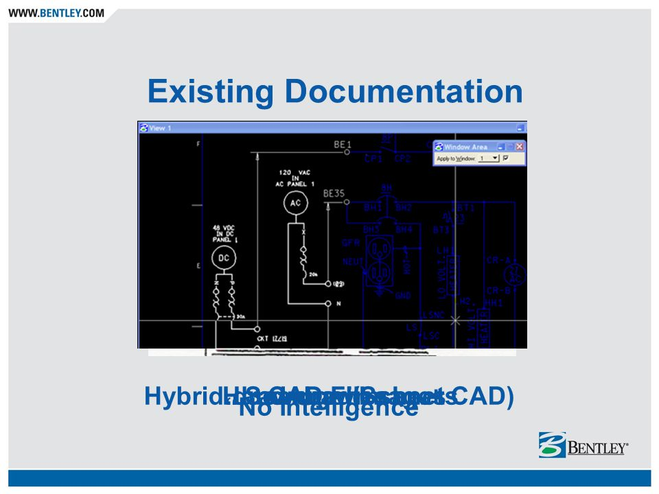 Existing Documentation Hand-drawn sheetsScanned ImagesHybrid drawings (Scan + CAD)CAD Files No Intelligence