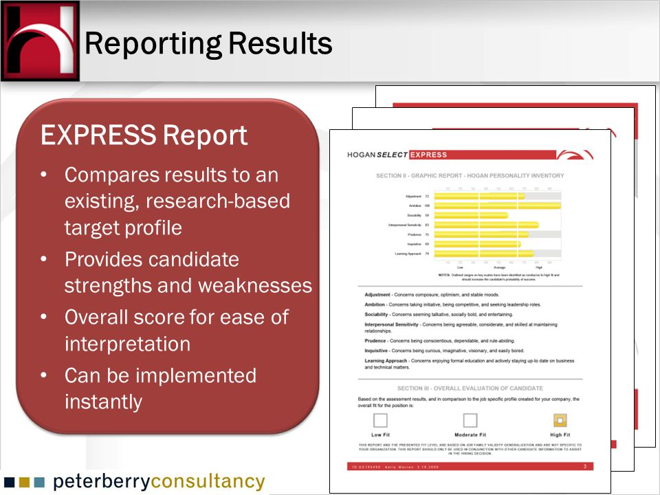 Reporting Results EXPRESS Report Compares results to an existing, research-based target profile Provides candidate strengths and weaknesses Overall sc