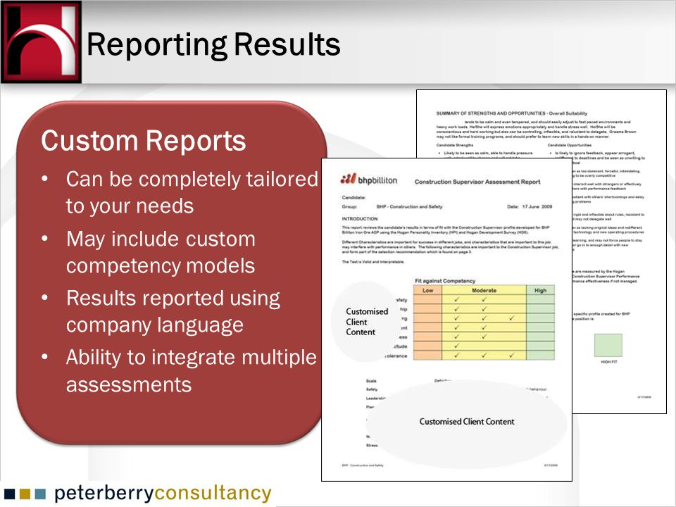 Reporting Results Custom Reports Can be completely tailored to your needs May include custom competency models Results reported using company language
