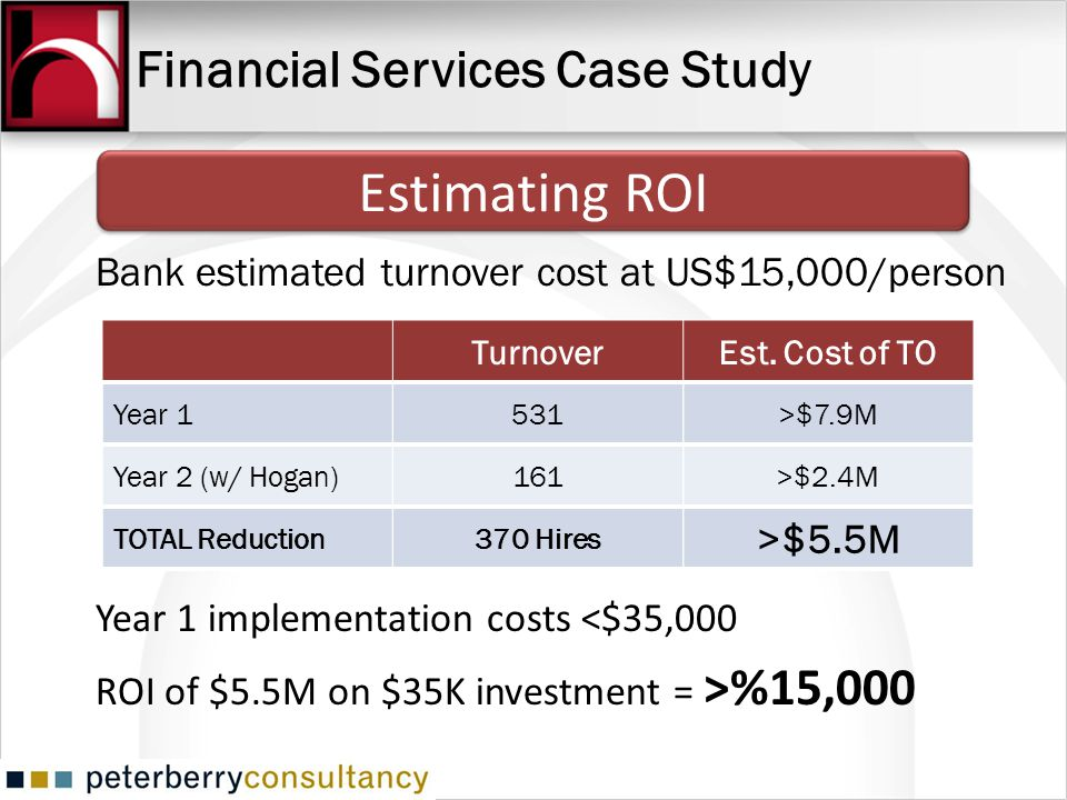 Financial Services Case Study Bank estimated turnover cost at US$15,000/person TurnoverEst. Cost of TO Year 1531>$7.9M Year 2 (w/ Hogan)161>$2.4M TOTA