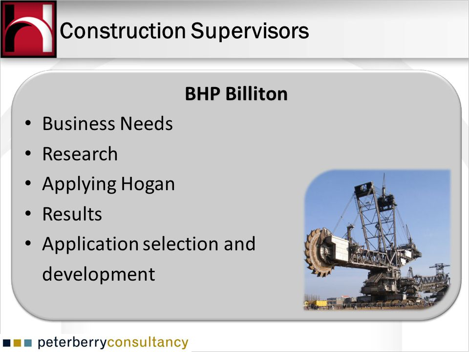 Construction Supervisors BHP Billiton Business Needs Research Applying Hogan Results Application selection and development
