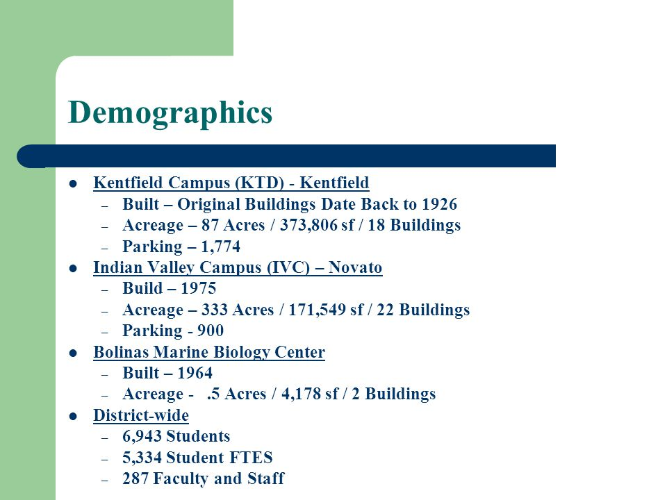 Demographics Kentfield Campus (KTD) - Kentfield – Built – Original Buildings Date Back to 1926 – Acreage – 87 Acres / 373,806 sf / 18 Buildings – Parking – 1,774 Indian Valley Campus (IVC) – Novato – Build – 1975 – Acreage – 333 Acres / 171,549 sf / 22 Buildings – Parking - 900 Bolinas Marine Biology Center – Built – 1964 – Acreage -.5 Acres / 4,178 sf / 2 Buildings District-wide – 6,943 Students – 5,334 Student FTES – 287 Faculty and Staff