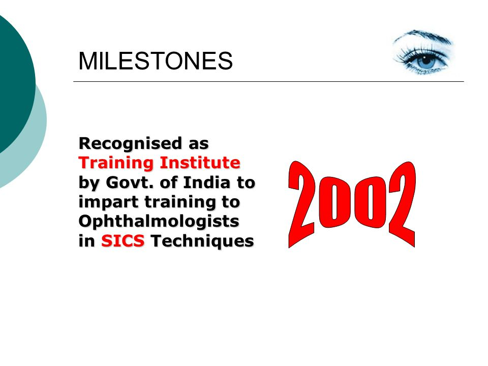 MILESTONES Recognised as Training Institute by Govt. of India to impart training to Ophthalmologists in SICS Techniques