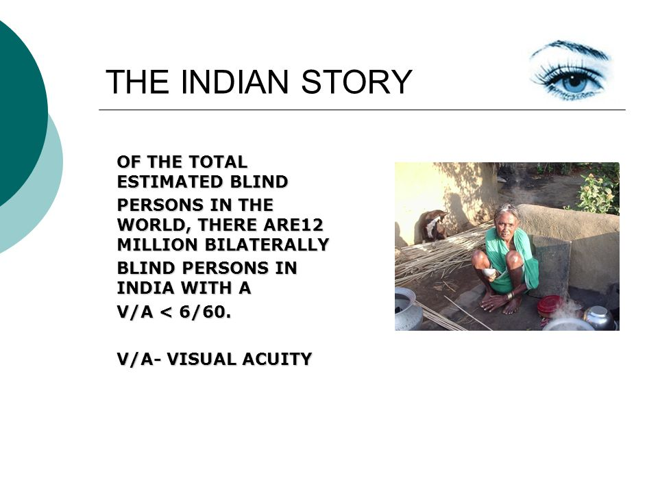 THE INDIAN STORY OF THE TOTAL ESTIMATED BLIND PERSONS IN THE WORLD, THERE ARE12 MILLION BILATERALLY BLIND PERSONS IN INDIA WITH A V/A < 6/60.