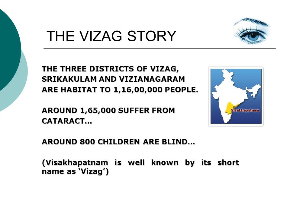 THE VIZAG STORY THE THREE DISTRICTS OF VIZAG, SRIKAKULAM AND VIZIANAGARAM ARE HABITAT TO 1,16,00,000 PEOPLE.