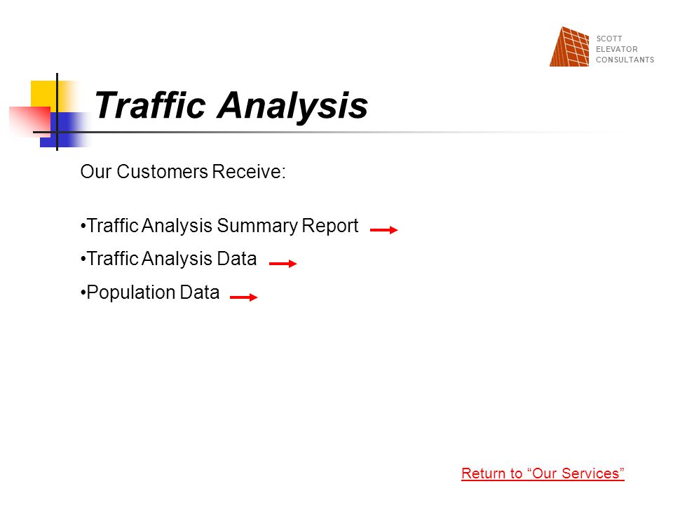 Traffic Analysis Our Customers Receive: Traffic Analysis Summary Report Traffic Analysis Data Population Data Return to Our Services SCOTT ELEVATOR CO