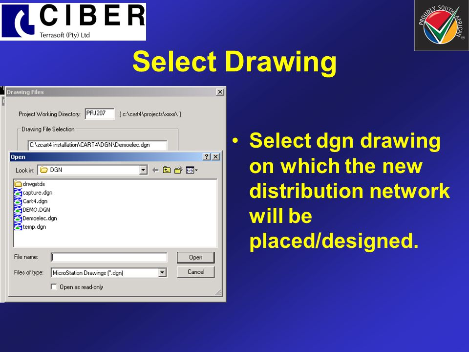 Select dgn drawing on which the new distribution network will be placed/designed. Select Drawing
