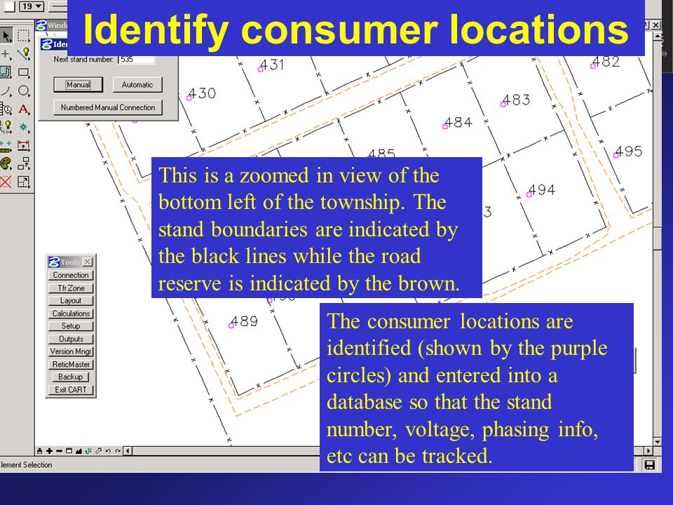 Identify consumer locations The consumer locations are identified (shown by the purple circles) and entered into a database so that the stand number,