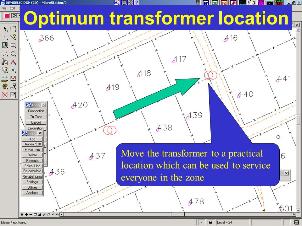 Optimum transformer location Move the transformer to a practical location which can be used to service everyone in the zone