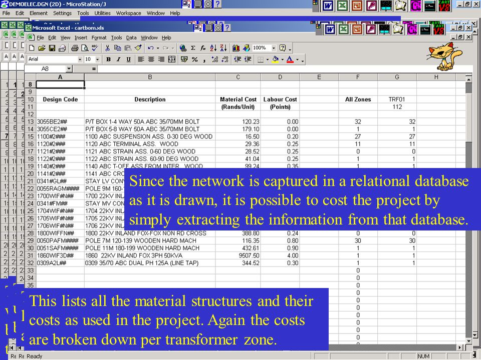 Costing the project This is a summary sheet for all the costs associated with the project. Note that the costs are always broken down per transformer
