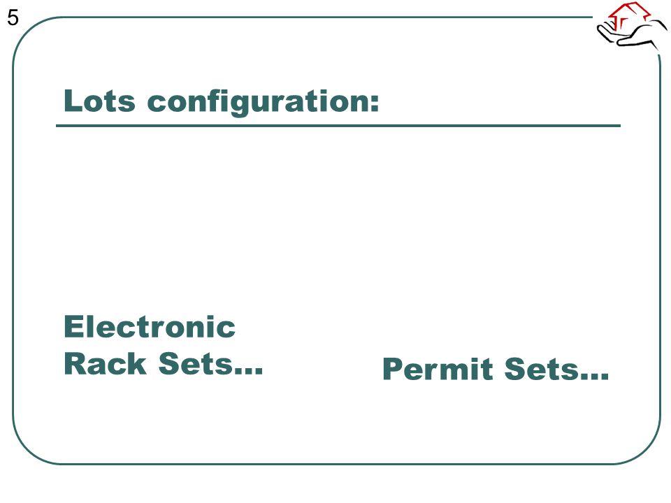 Lots configuration: Permit Sets… Electronic Rack Sets… 5
