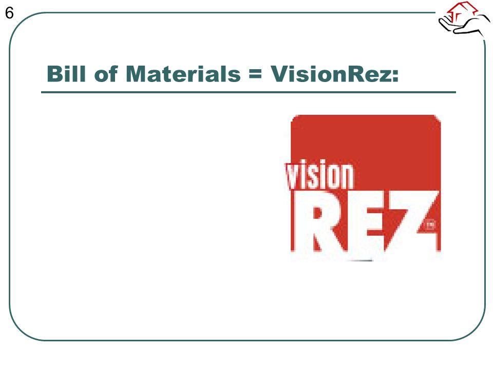 Bill of Materials = VisionRez: 6