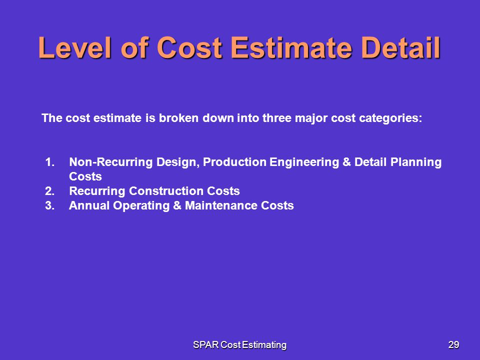 SPAR Cost Estimating29 The cost estimate is broken down into three major cost categories: Level of Cost Estimate Detail 1.Non-Recurring Design, Produc