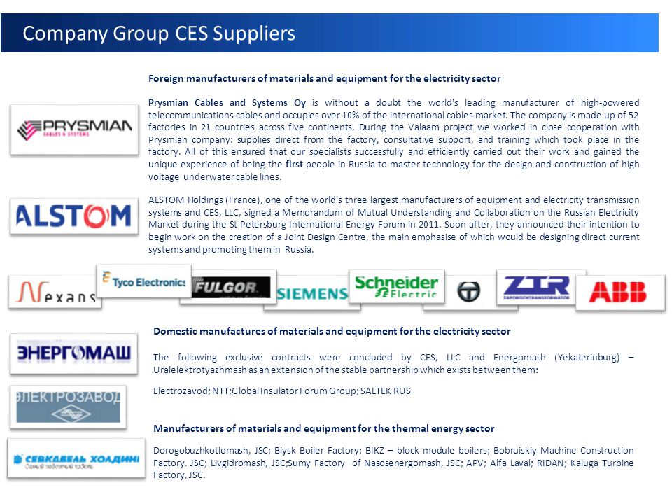 КЭР ТЕПЛОЭНЕРГЕТИКА: Company Group CES Suppliers Foreign manufacturers of materials and equipment for the electricity sector Prysmian Cables and Syste