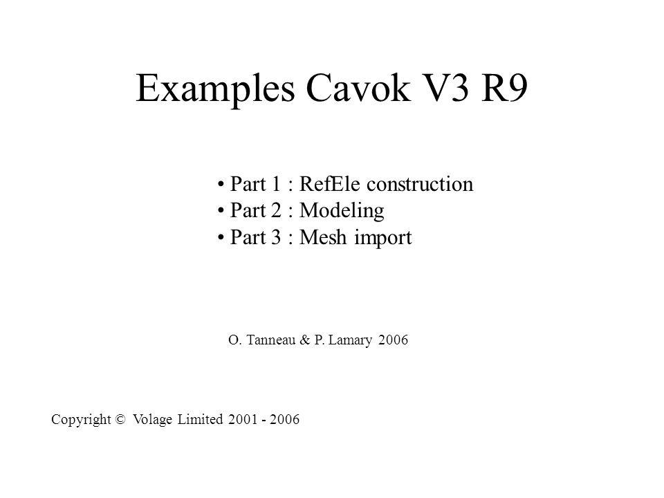 Part 1 : RefEle Construction Cavok includes a constructor of reference element Main Entries : Topology Formal definitions of : U : DOF N : shape functions L : gradients and combinations of DOF D : matrix of physical coefficients