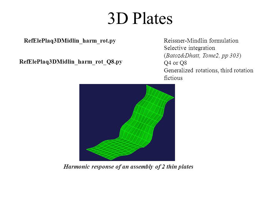 Others RefEleAcou3DH8.py RefEleCoupUPS_Z.py StrucRaid.py T Beam harmonic response with a plate model Torsional load H8 Acoustics element and a corresponding fluid-structure coupling element See section models for examples of use Example of use of plates elements From *.cao library