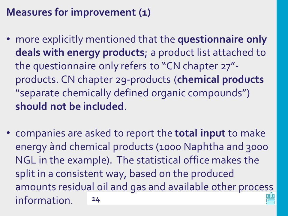 14 Measures for improvement (1) more explicitly mentioned that the questionnaire only deals with energy products; a product list attached to the questionnaire only refers to CN chapter 27- products.
