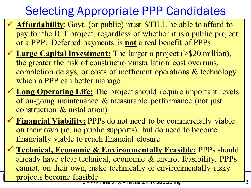 3 - PPP Feasibility Analysis & Risk Structuring26 Key Success Factors in PPPs: Positivevs.