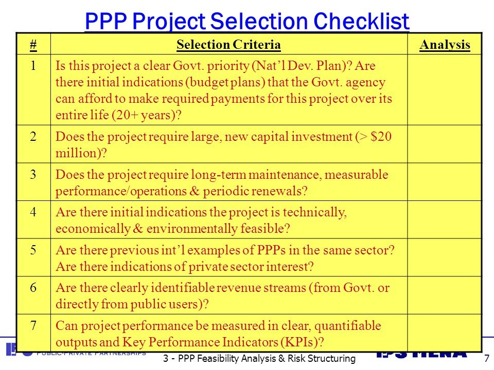 3 - PPP Feasibility Analysis & Risk Structuring8 I.