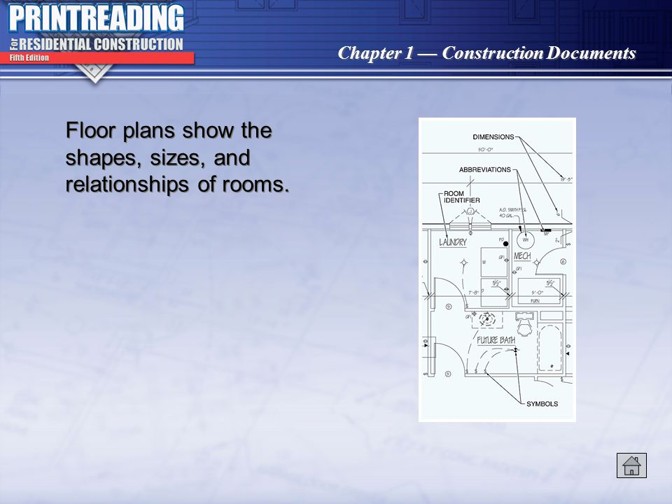 Chapter 1 Construction Documents Floor plans show the shapes, sizes, and relationships of rooms.
