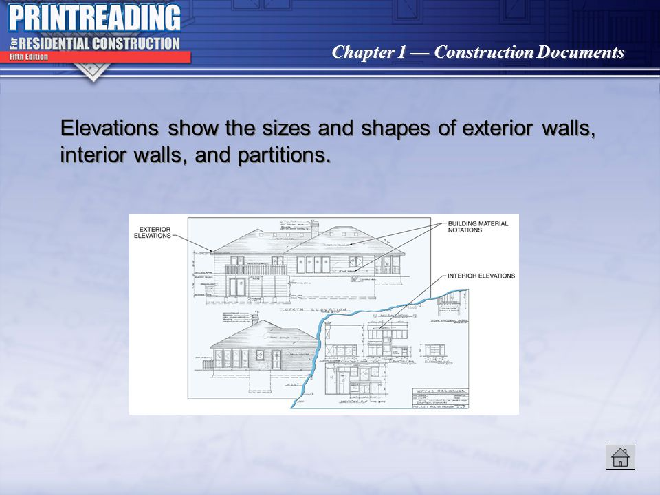 Chapter 1 Construction Documents Elevations show the sizes and shapes of exterior walls, interior walls, and partitions.