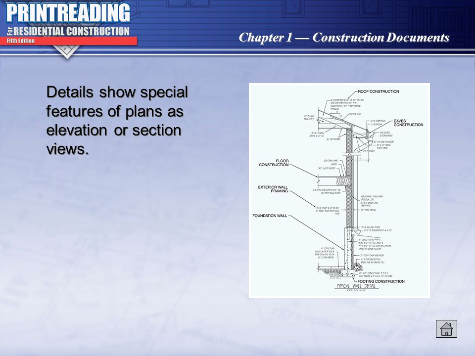Chapter 1 Construction Documents CAD-generated plans have consistent line weights, symbols, and lettering.