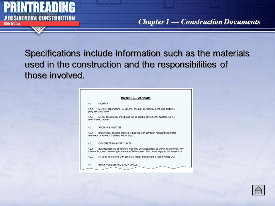 Chapter 1 Construction Documents Title blocks include the sheet number, architect or design firm name, owner, and other pertinent information.