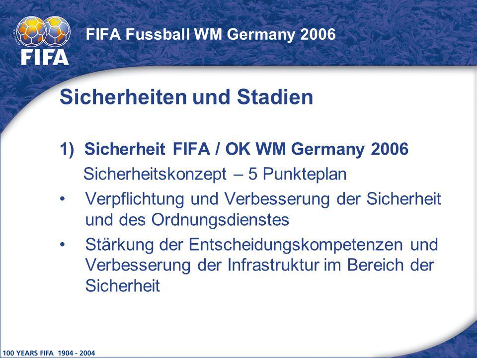 FIFA Fussball WM Germany 2006 Sicherheiten und Stadien 1) Sicherheit FIFA / OK WM Germany 2006 Sicherheitskonzept – 5 Punkteplan Verpflichtung und Ver