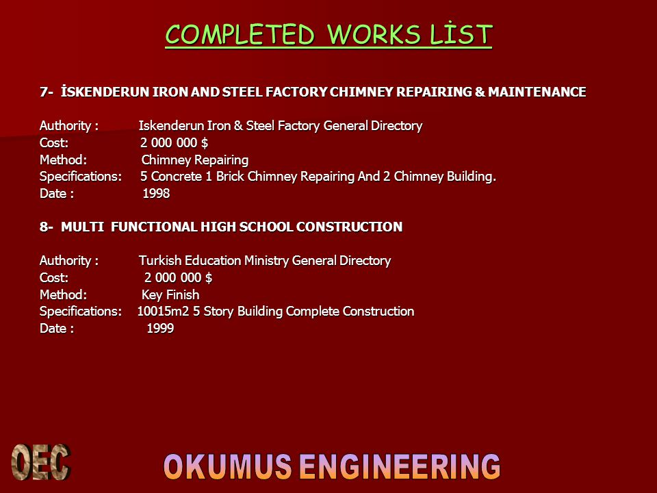 COMPLETED WORKS LİST 9- OSMANIYE OSIMPAŞ MARKET Authority : Osimpas Market Co.