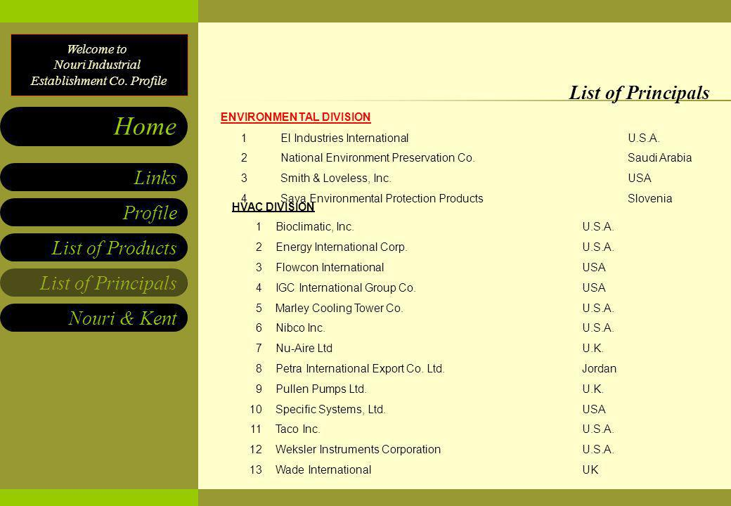 Welcome to Nouri Industrial Establishment Co. Profile List of Products List of Principals Nouri & Kent Links Profile Home List of Principals ENVIRONME