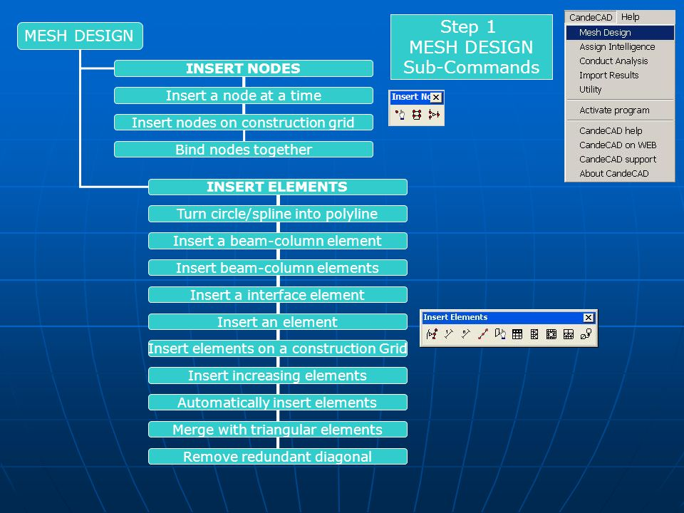 INSERT NODES INSERT ELEMENTS Insert a node at a time Insert nodes on construction grid Bind nodes together Turn circle/spline into polyline Insert a beam-column element Insert beam-column elements Insert a interface element Insert an element Insert elements on a construction Grid Insert increasing elements Automatically insert elements Merge with triangular elements Remove redundant diagonal Step 1 MESH DESIGN Sub-Commands